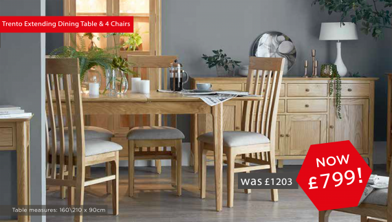 Trento Extending Dining Table and 4 Chairs only £799