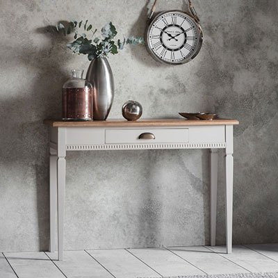 Shabby chic decor console table taupe